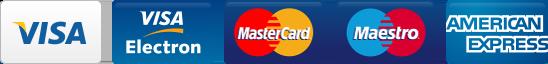 Visa, Visa Electron, Mastercard, Maestro, American Express